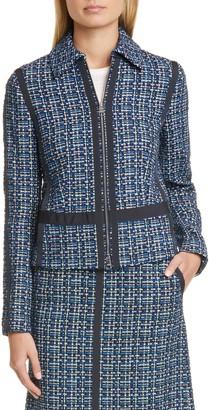 BOSS Janopus Zip Front Tweed Jacket