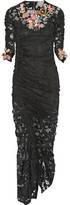 Preen by Thornton Bregazzi Georgia Ruched Embellished Stretch-lace Dress - Black