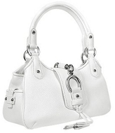 Buti White Pebble Italian Leather Horsebit Handbag