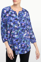 NYDJ Velvet Bouquet Print 3/4 Sleeve Blouse In Petite