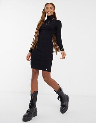 Morgan knitted high neck mini dress in black