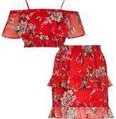 River Island Girls red floral print bandeau top outfit