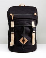 Asos Hiker Backpack In Black Melton With Contrast Trims