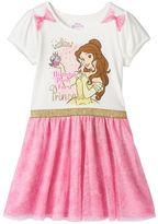 "Disney Princess Belle Girls 4-6x ""Birthday Party"" Glitter Tulle Dress"