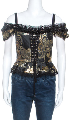 Dolce & Gabbana Black and Gold Jacquard Off Shoulder Corset Top M