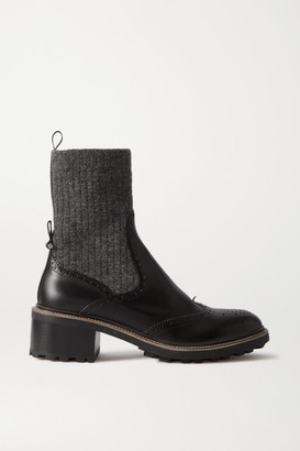 Chloé Franne Laser-cut Wool And Leather Ankle Boots - Black