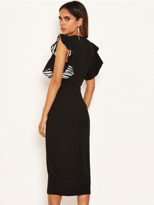 AX Paris Printed Frill Midi Bodycon Dress - Black