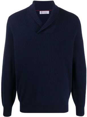 Brunello Cucinelli ribbed V-neck jumper
