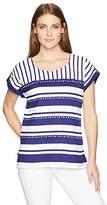 Alfred Dunner Women's Stripe Knit Top Tab Slv Detail