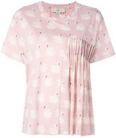 Stella McCartney ruched swan print blouse