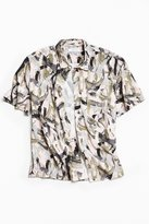 Urban Outfitters Brushstroke Rayon Short Sleeve Button-Down Shirt