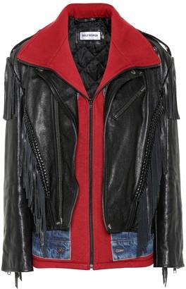 Balenciaga Denim-trimmed leather jacket