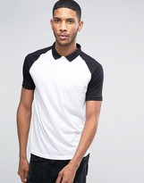 Asos Polo Shirt With Contrast Collar And Sleeves In White/Black