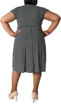 Thumbnail for your product : Sandra Darren Striped Keyhole Short Sleeve Midi Dress