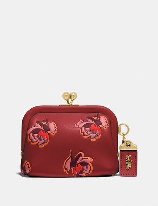 Coach Kisslock Coin Purse With Floral Print