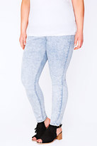 Yours Clothing Bleach Light Blue Acid Wash Pull On Stretch Jeggings