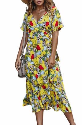 SIMYJOY Women Floral Printed V Neck Dress High Waist Ruffles Short Sleeve Maxi Dress Loose Casual Beach Dress Green
