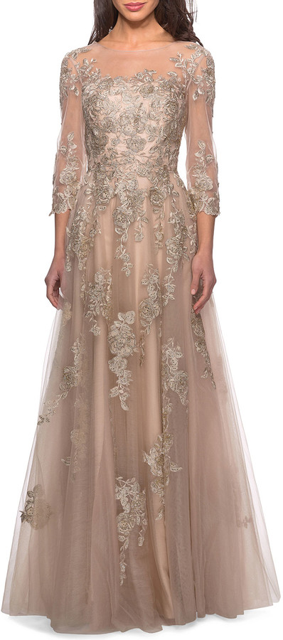 La Femme Tulle & Lace Sheer-Top Gown