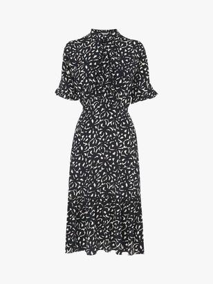 LK Bennett Mia Bow Print Silk Dress, Navy/Cream