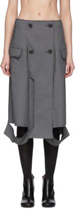 Maison Margiela Grey Houndstooth Double-Breasted Skirt