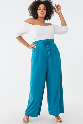 Forever 21 Plus Size Belted Wide-Leg Pants