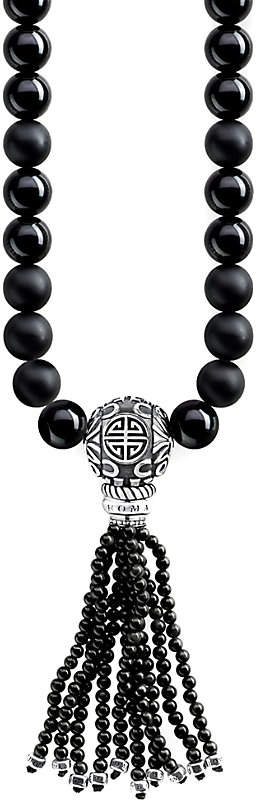 Thomas Sabo Rebel at Heart Mala Power sterling silver and obsidian bead necklace
