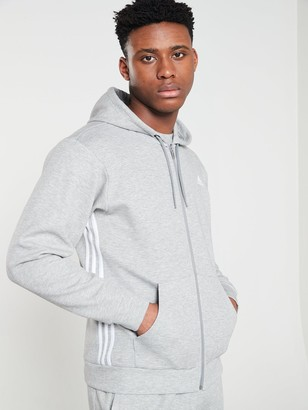 adidas Side 3 Stripe Full Zip Hoodie- Medium Grey Heather