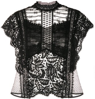 Isabel Marant Floral-Lace High-Neck Top