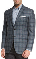 Brioni Plaid Two-Button Sport Coat, Gray/Green