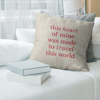 "East Urban Home Handwritten Travel Love Quote Pillow Size: 26"" x 26"", Color: White/Red"