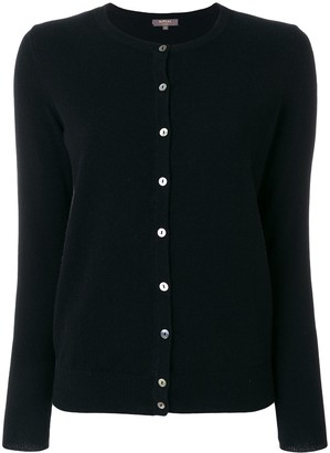 N.Peal Round Neck Contrast Button Cardigan