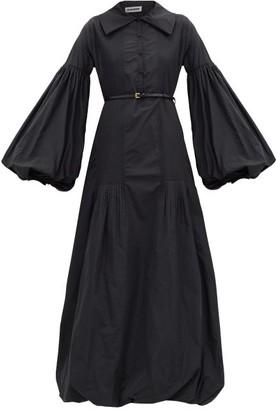 Jil Sander Balloon-sleeve Taffeta Dress - Black