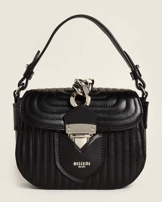 Moschino Black Small Quilted Hidden Lock Leather Bag