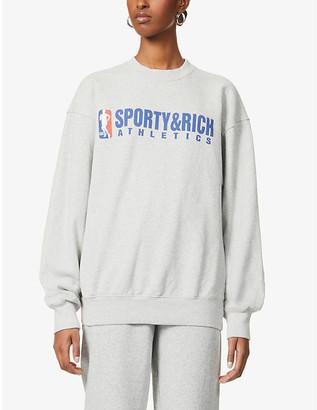 Sporty & Rich Team logo-print cotton-jersey sweatshirt