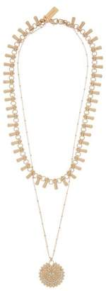 Etro Crystal-embellished Double-chain Pendant Necklace - Womens - Gold