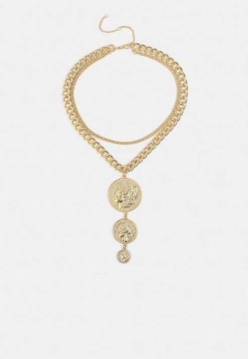 Missguided Look Chunky Coin Drop Necklace