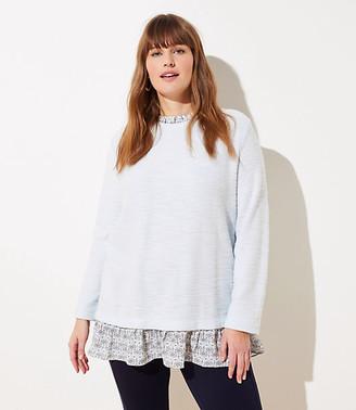 LOFT Plus Mosaic Boucle Mixed Media Sweatshirt