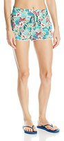 OndadeMar Women's Hawaian Bloom Cover Up Shorts with Decorative Drawstring