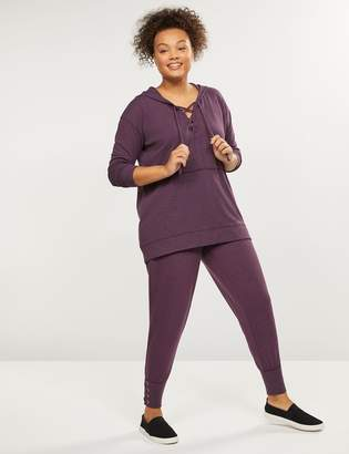 Lane Bryant LIVI Active French Terry Jogger - Lace-Up Cuff