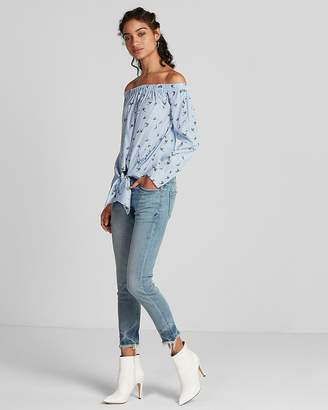 Express Striped Bird Off The Shoulder Tie Front Blouse