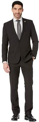 Nick Graham Black Solid Suit (Black) Men's Suits Sets
