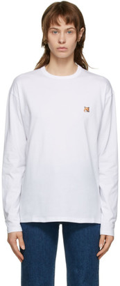 MAISON KITSUNÉ White Fox Head Long Sleeve T-Shirt