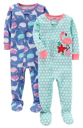 Carter's Baby Toddler Girl Snug Fit Cotton Footed One-Piece Pajamas, 2-Pack