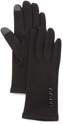 Jeanne Simmons Accessories Women's Casual Gloves Black - Black Button-Accent Touchscreen Gloves