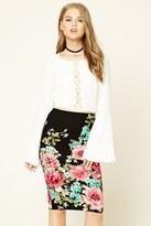 Forever 21 FOREVER 21+ Floral Print Midi Skirt