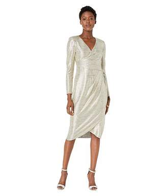 Adrianna Papell Foiled Jersey Pleat Wrap Cocktail Dress
