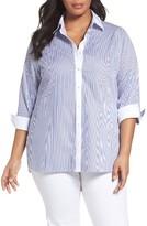 Foxcroft Plus Size Women's Mini Stripe Non-Iron Tunic Shirt