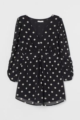 H&M MAMA Patterned Chiffon Blouse - Black