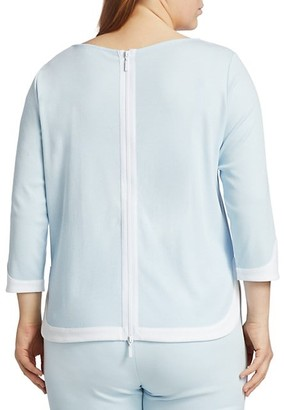 Joan Vass, Plus Size Colorblock Zip-Back Top