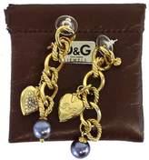 Dolce & Gabbana Gold Heart & Pearl Earrings